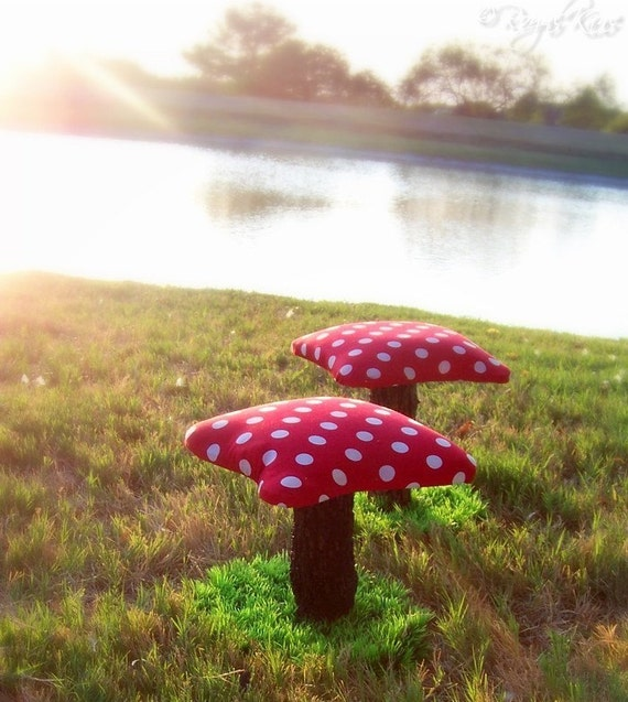 2 Kids Mushroom Toadstools Chairs Stools Set Gnome By