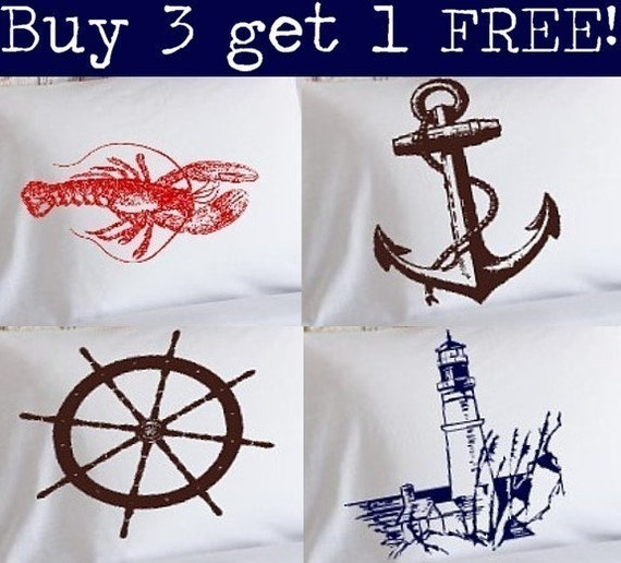 Buy 3 get 1 free Nautical Pillowcases Pillow case beach ocean decor sharks lobster crab sailboat - Priority Mail