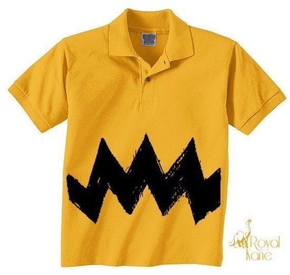 Retro NEW Charlie Yellow Zig Zag kids boys girls peanuts Small, Medium, Large or XL FUNNY brown gift Polo T-Shirt Teeshirt
