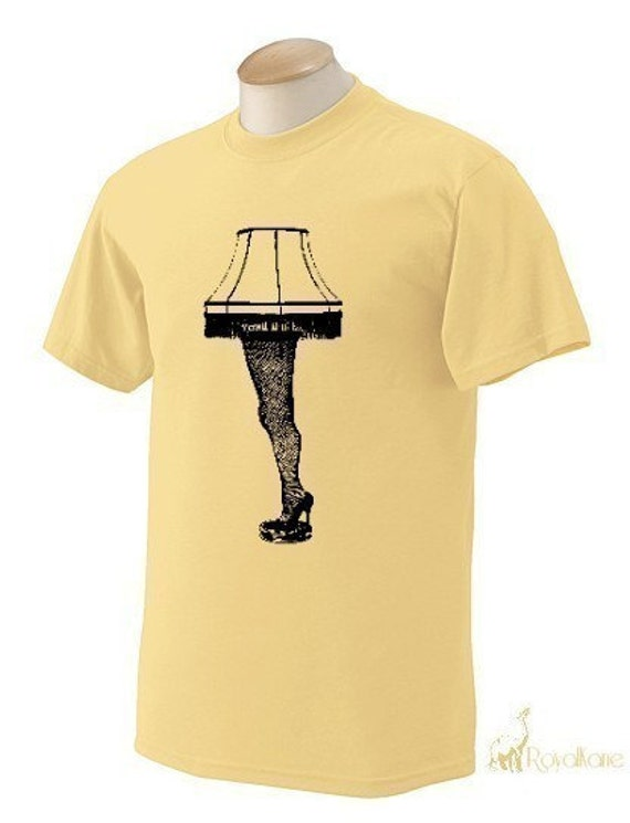Sale - Large Leg LAMP T-Shirt Yellow Black Mens Man Short Sleeve a FUNNY story christmas decor cult classic Tee Shirt story Teeshirt tee