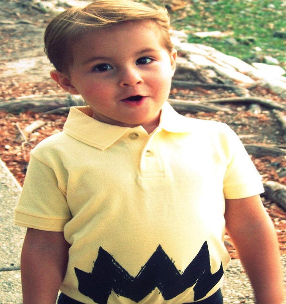 Deluxe Charlie Zig Zag POLO button shirt kids show child boy yellow peanuts retro classic tv comic 12m, 18m, 2t, 3t, 4t