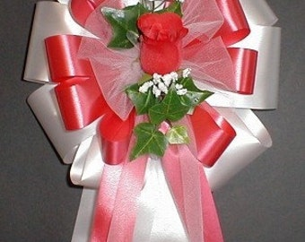 6 WHITE/RED Rose Pew Bows - Wedding Decorations