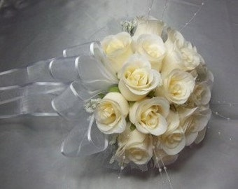 Wedding Ivory Roses Bridal Bouquet