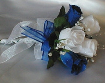 Wedding White and Royal Blue Roses Handtied Bridemaid/Toss Bouquet