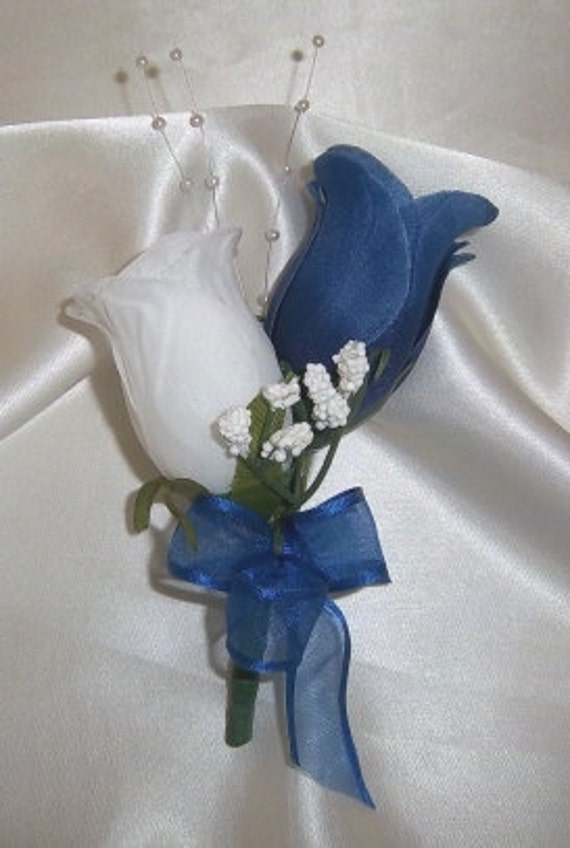 WHITE and ROYAL BLUE Rose Buds Corsage - Wedding - Prom - Anniversary
