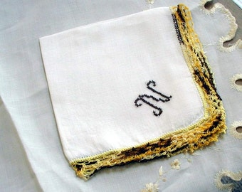 "Vintage  Tatted White Cotton Hanky/Handkerchief  Embroidered ""N""  Monogram Brown . Lace Focal Corner"