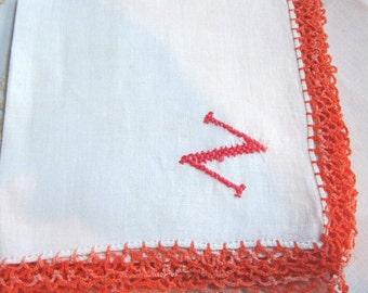 "Vintage ""N"" hand embroidered monogram hanky/handkerchief. Orange crochet edge"