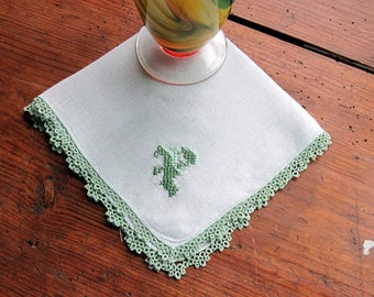 """P """"Monogram in Green   on White Linen Hanky with Green Tatted Edging"""