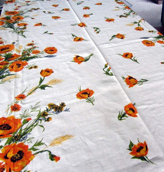 Lovely Orange Floral Print on Ecru Linen Tablecloth 48 inches X 100 inches