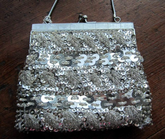 Vintage Beaded Sequined Silver  Evening Bag . Bridal,Prom, Cruisewear