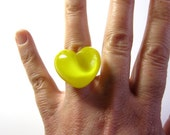Yellow heart - Resin ring - Size M