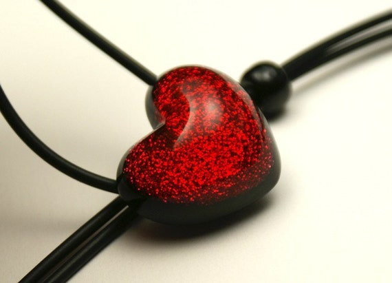 Small Red Sparkling Heart - Resin Necklace