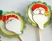 Whimsical Santa Claus - Cupcake Toppers