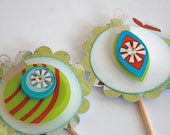 Reserved for Lisa - Retro Christmas Ornaments - Cupcake Toppers