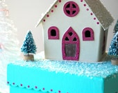 Wintry Church - Trinket Box in Tiffany Blue and Pink - Last One