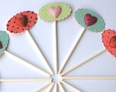 Glittery Hearts Galore - Cupcake Toppers