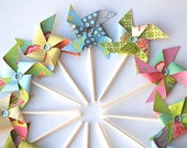 Sweet Nectar Pastel Sequined Pinwheels - Cupcake Toppers/Party Picks