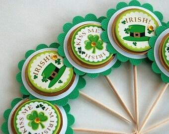 Kiss Me - I'm Irish St. Patty's Day Cupcake Toppers