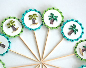 Palm Tree Breeze Cupcake Toppers