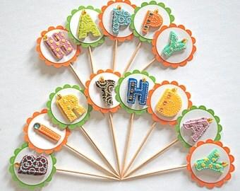 Happy Birthday Felt Letters - Bakers Dozen Cupcake Toppers