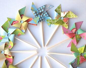Sweet Nectar Pastel Sequined Pinwheels. Pinwheel Cupcake Toppers. Paper Pinwheels. Pinwheel Birthday. Spring Party. Pinwheel Party.
