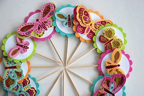 Sherbet Butterfly Cupcake Toppers.  Colorful Butterfly Decor. Butterfly Cake Topper. Butterfly Birthday Party. Butterfly Baby Shower.