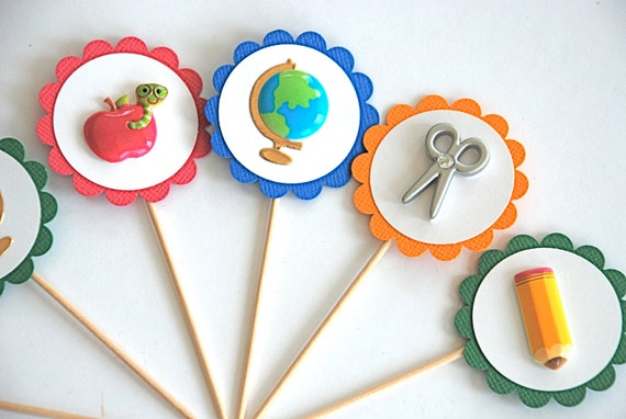 School Days Cupcake Toppers