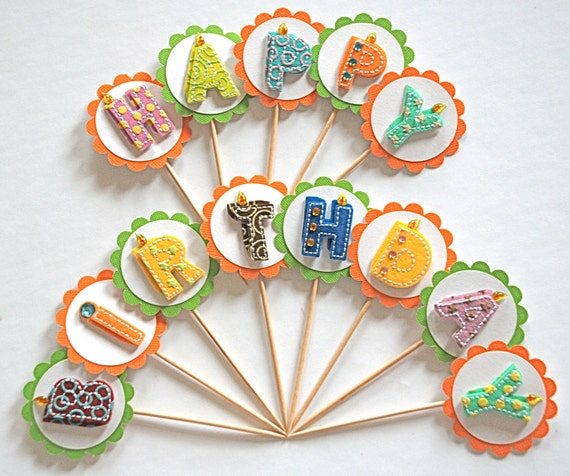 Happy Birthday Felt Letters - Bakers Dozen Cupcake Toppers