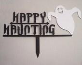 Happy Haunting Metal Art Halloween Yard Garden Sign
