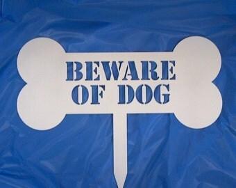 Beware of Dog Metal Art Lawn Garden Sign - Free USA Shipping