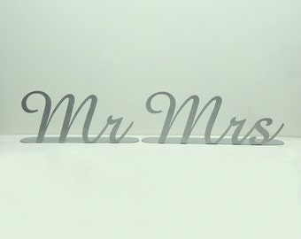 Mr. and Mrs. Metal Art Wedding Reception Table Decor - Free USA Shipping