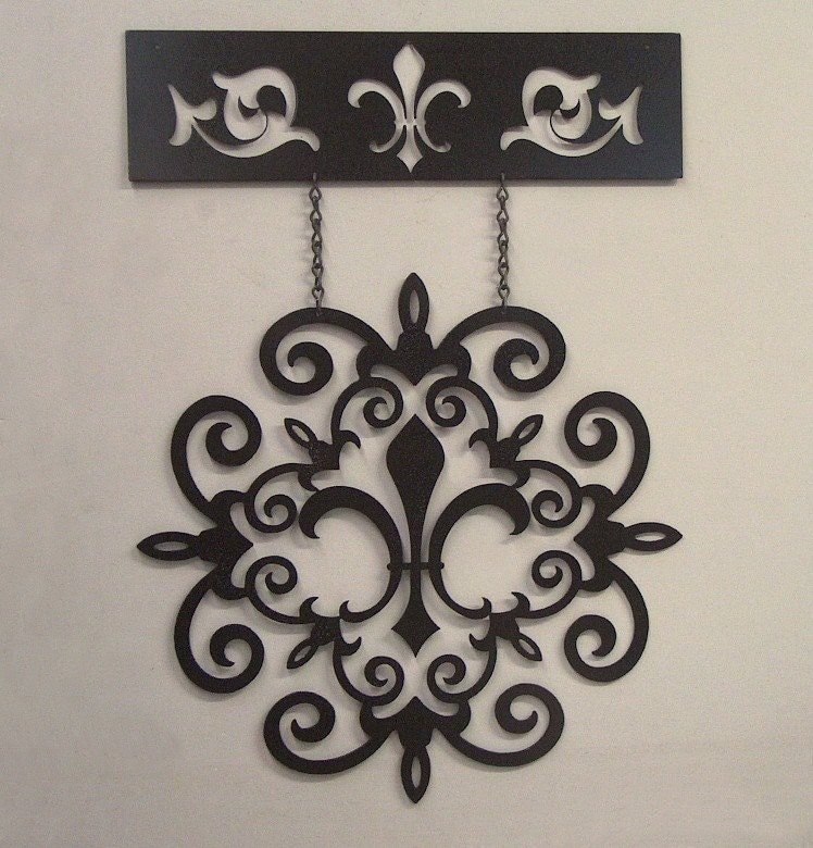 Fleur De Lis Hanging Scroll Wall Art