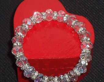 Beautiful Clear Crystal and Silver Rhinestone Rondelles Stretch Bracelet