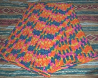 Wild Child Crochet Afghan - Multi Color, Orange, Blue, Yellow and Pink