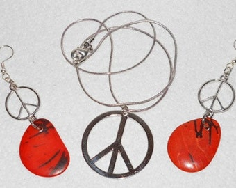 Peace Sign Necklace and Earring Set with Reddish Orange Tagua Nuts