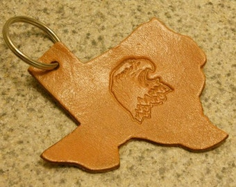 State of Texas with Eagle Leather Keychain
