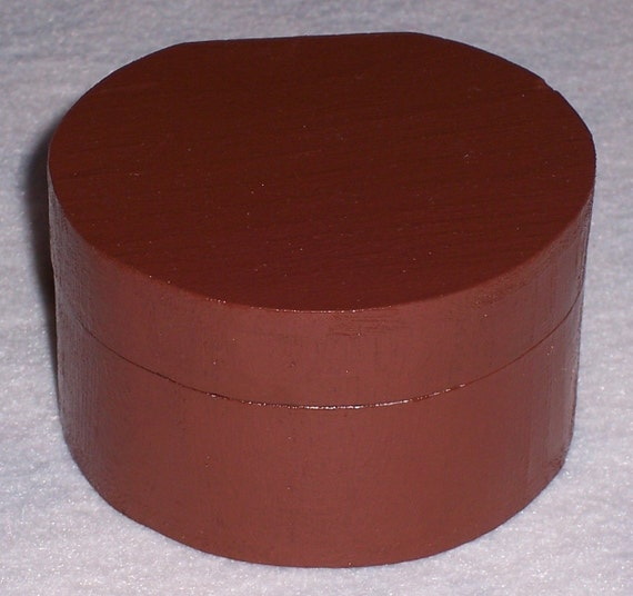 Items similar to burly brown round wooden box on etsy for Circular wooden box