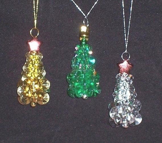 Items similar to christmas tree ornaments set of 3 on etsy for Christmas tree items list