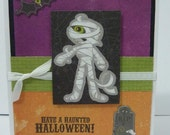 Have a haunted Halloween Mummy  Bat Skeleton  RIP cemetery handmade blank card free shipping