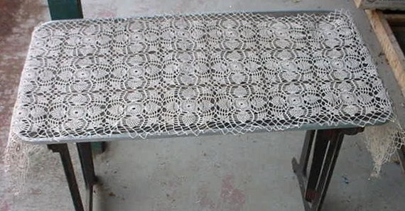 Extra Long Ecru Crochet Lace Table Runner Doily
