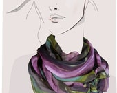Vegetable Garden - hand painted silk georgette scarf with metallic accents