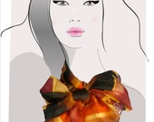 Primal Geometric - orange and brown, hand painted silk scarf