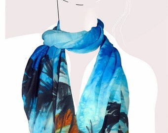 Hawaiian Dream: Bright cyan blue and orange, tropical hand painted silk scarf