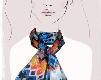 Hand painted silk scarf (Blue, Orange geometric):  Sunshine on the Mountain