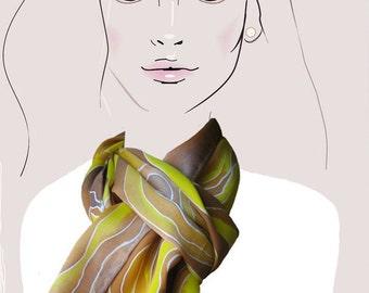 silk scarf. hand painted. yellow woodgrain,silk charmeuse scarf:  Golden Sun Woodgrain