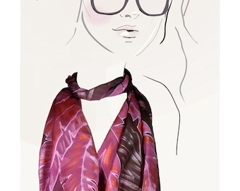 Hand painted silk scarf (Pink and Copper feathers):  Shimmering Feathers