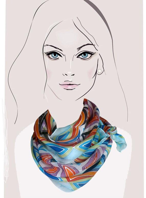 Sky Blue, geometric hand painted silk scarf:  Celebration