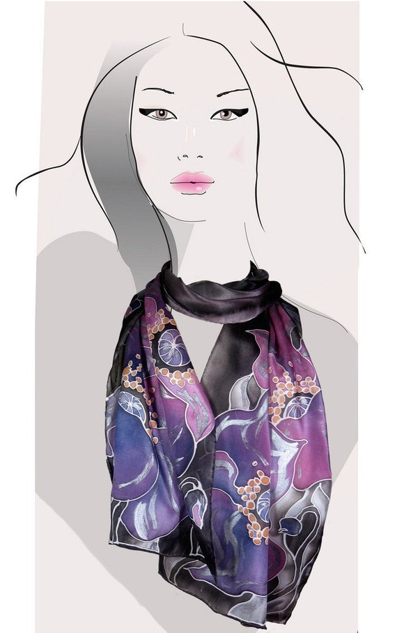 Purple and Black floral, hand painted silk scarf:  Midnight Poppies