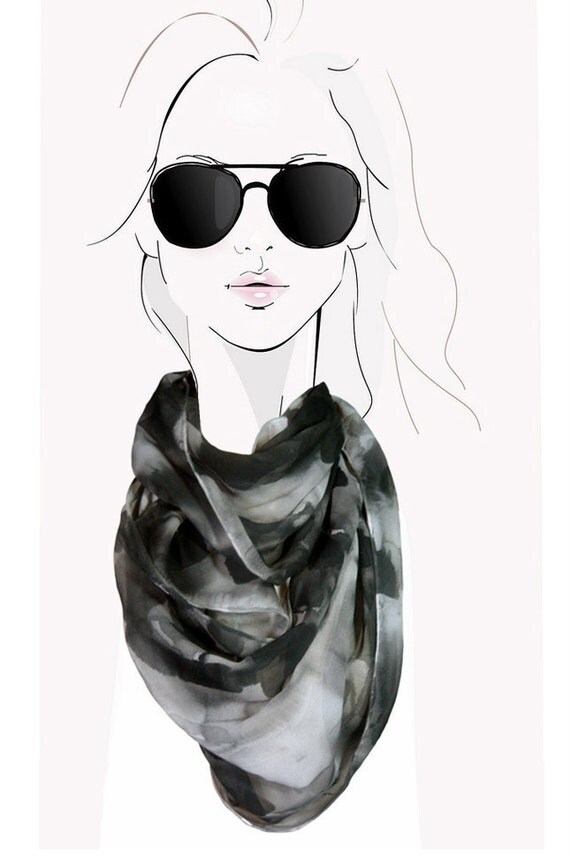 Smoke Flurry - black and grey hand painted silk scarf