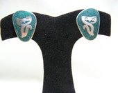 Vintage Turquoise w/ Inlaid Silver Cat Earrings
